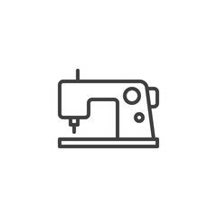 Electric sewing machine line icon. linear style sign for mobile concept and web design. Sewing machine outline vector icon. Symbol, logo illustration. Vector graphics