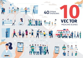 Patients Hospitalization, Mobile Services for Healthcare Trendy Flat Vector Scenes, Concepts Set. Modern Clinic Personnel, Medicine Professionals, Ambulance Team, People in Hospital Ward Illustrations