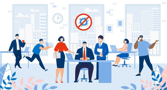 Busy Office Failure Deadline after Covid19 Outbreak Stop. Stressed Overworked Employee Team. Boss Chief Tired Confusing Businessman Worker and Paperwork. Business Company Workspace after Pandemic