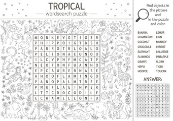 Vector summer wordsearch puzzle. Keyword with tropical animals and birds for children. Educational black and white jungle crossword activity with cute characters. Fun coloring page for kids.