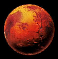 Mars the Red planet of the solar system in space. High resolution art presents planet Mars isolated on black.