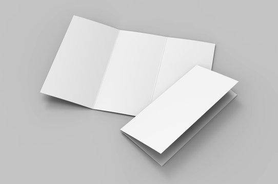 Blank tri fold brochure template for mock up and presentation design. 3d render illustration.