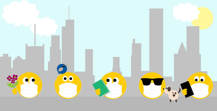 Coronavirus, covid 19, social distancing, emojis wearing face masks outside in city. Youth concept of coronavirus. Copy space
