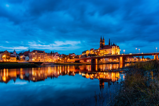 panoramic view of Albrechtsburg and Cathedral Meissen, Germany