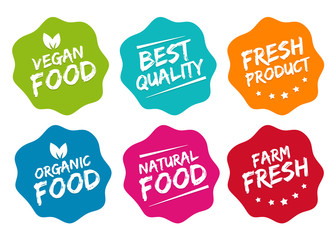 Wall Mural - Healthy food labels set on white background.