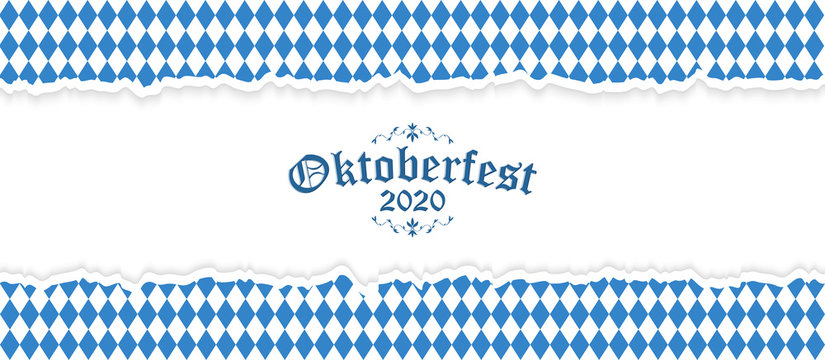 Oktoberfest 2020 background with ripped paper