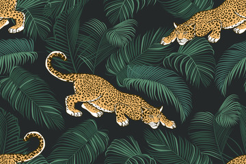 The stalking wild jaguar and palm leaves. .Exotic seamless pattern on a dark background. Hand drawn jungle texture. Vector illustration. Papier Peint