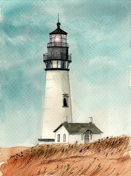Watercolor picture of a lighthouse with a small house in the grass field
