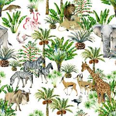 seamless patterns with safari animals and tropical trees. jungle nature watrcolor illustration. giraffe, zebra, antelope, flamingo, elephant, lion, pelican. wildlife