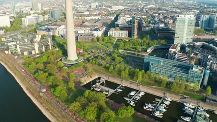 Fotomurales - Düsseldorf Germany during spring aerial footage