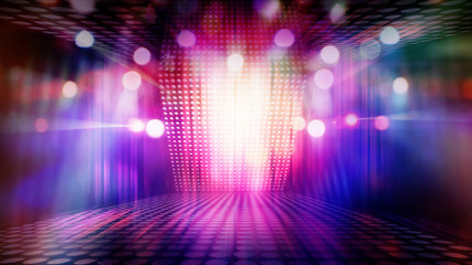 blurred empty theater stage with fun colourful spotlights, abstract image of concert lighting  illumination background