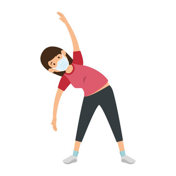 young woman using face mask practicing exercise vector illustration design