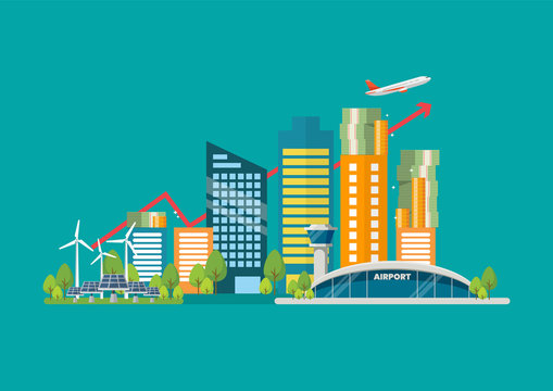 Cityscape in flat style with graph up and money