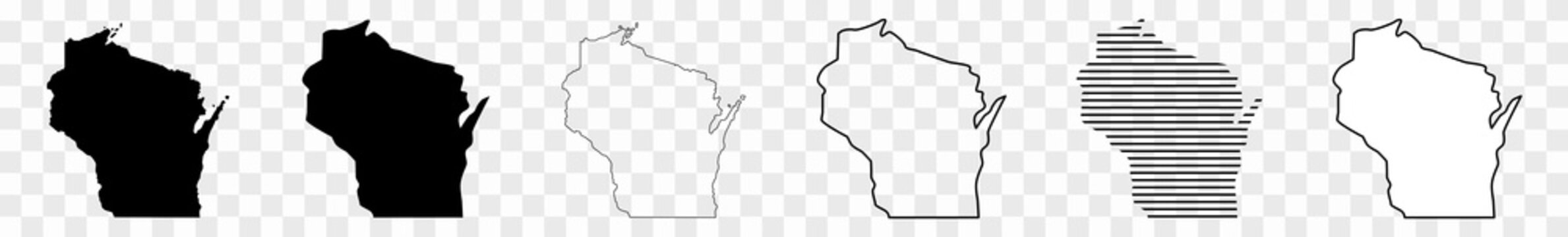 Wisconsin Map Black | State Border | United States | US America | Transparent Isolated | Variations