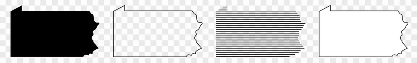 Pennsylvania Map Black | State Border | United States | US America | Transparent Isolated | Variations