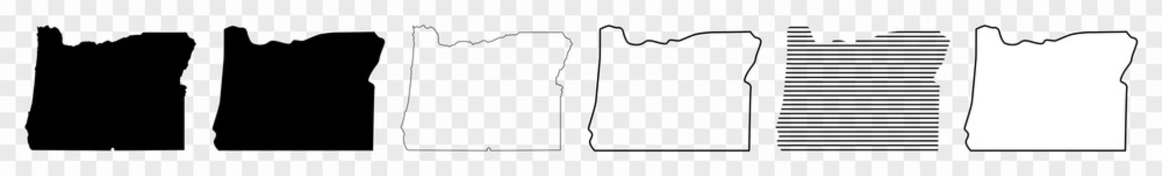 Oregon Map Black | State Border | United States | US America | Transparent Isolated | Variations