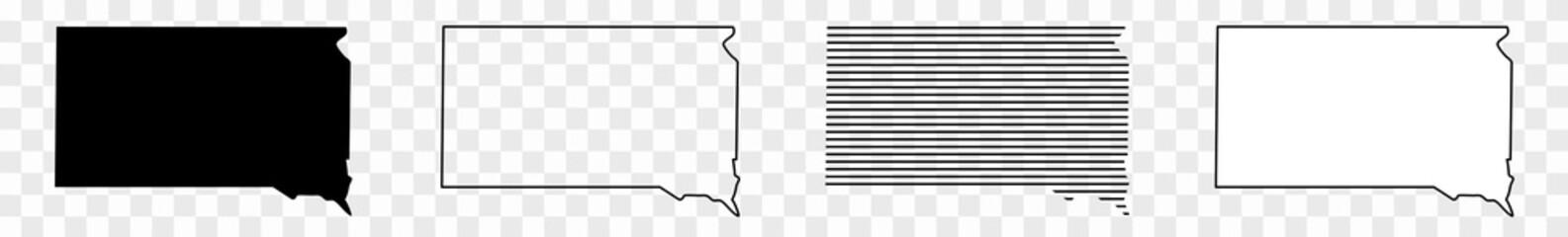 South Dakota Map Black | State Border | United States | US America | Transparent Isolated | Variations