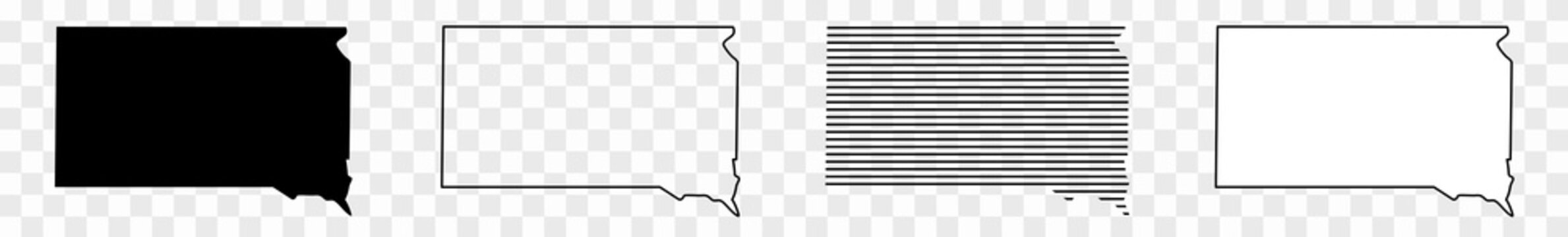 South Dakota Map Black | State Border | United States | US America | Transparent Isolated | Variations