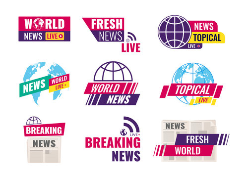 TV title news bar logos. Set of journalism conceptual logo, emblems, icons, labels. World breaking topical fresh news, television, radio channels. Television channel broadcasting service vector
