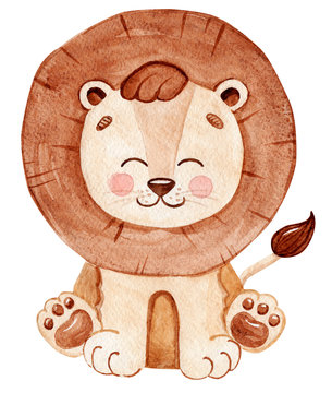 Watercolor cute lion baby isolated on white background. African wild animals.