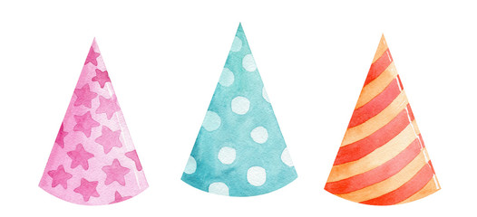 watercolor color party hats set isolated on white background. Birthday cones with stripes and dots accessories clip art for invitations and designs