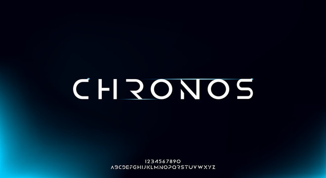 Chronos, an Abstract technology futuristic alphabet font. digital space typography vector illustration design