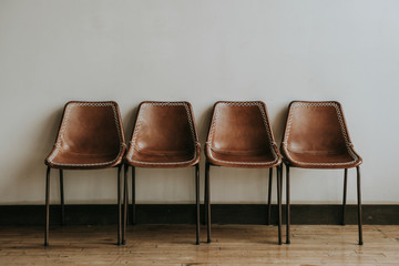 Retro brown leather chairs