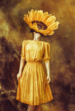 Strange fine art concept. The body of a woman, her head is a sunflower.