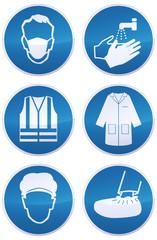 Collection de panneaux d'obligations masque,laver les mains, gilet de sécurité,blouse, charlotte et sur chaussures (reflet métal)
