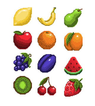 set of pixel art fruits icon. 32x32 pixels