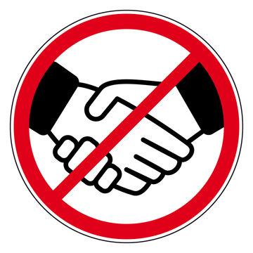 Hände schütteln verboten - Schild