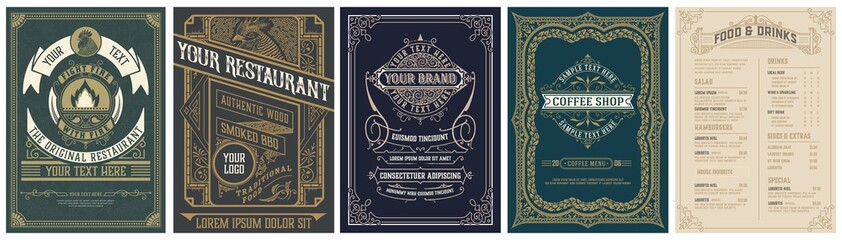 Set of 4 Vintage Menu with classic and premium ornaments