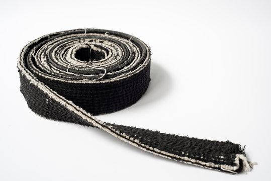 Zen art. Black belt martial arts on white background. Clothes for martial arts, aikido, karate, judo. Copy paste.