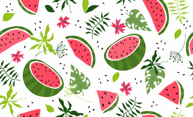 Seamless pattern with watermelon. Vector hand draw watermelon