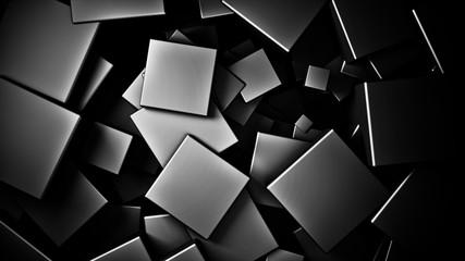 Wall Mural - displaced 3d black satinated satinated  cubes background, 3d render illustration