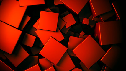 Wall Mural - displaced 3d metallic satinated copper cubes background, 3d render illustration