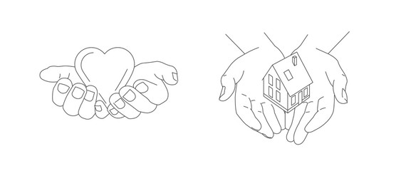 Line illustration of hands gesture with hands holding heart and giving house, family values and love