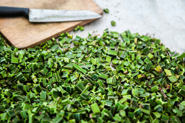 Acrylic Prints Cat Cissus Quadrangularis or Pet Sung Kat tropical Medicine herb, cut for drying process