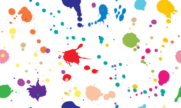Beautiful seamless pattern of colorful ink blots and splashes. Isolated. Vector illustration