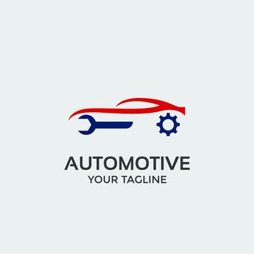 automotive logo design template vector, car with key repair icon