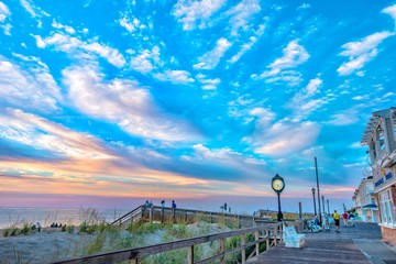 Wall Murals Blue sky Bethany Beach Delaware - Dunes Clouds Wisps