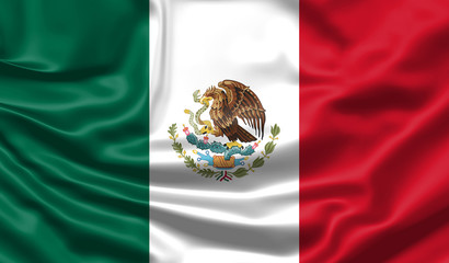 Realistic flag. Mexico flag blowing in the wind. Background silk texture. 3d illustration.