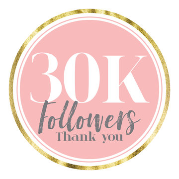 Thank you 30K followers. Pink and gold social media followers banner