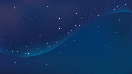 青いグラデーションの美しい星空、宇宙の背景グラフィック素材