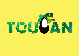 Abstract Toucan Bird Typography on Yellow Background