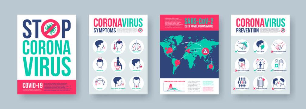 Coronavirus poster set with infographics elements. Novel coronavirus 2019-nCoV banners. Concept of dangerous Covid-19 pandemic. Vector illustration.
