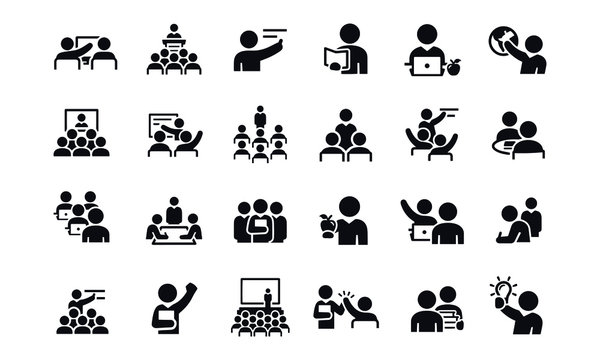 Teachers, Professors and Instructors icons