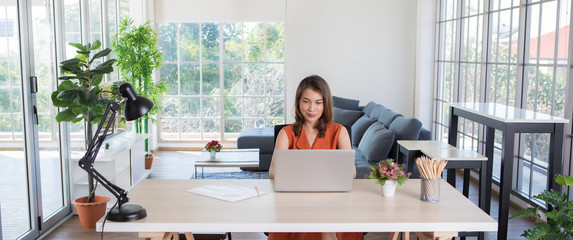 Woman workin from home using computer. Wall mural