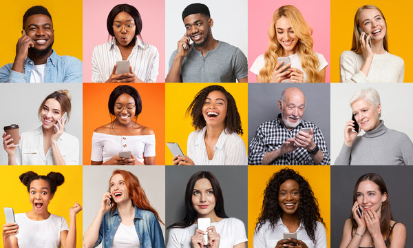 Happy multiracial people using mobile phones on color background, collage