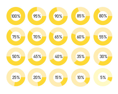 Percentage vector infographics. 0 to 100 percent yellow and grey pie charts.